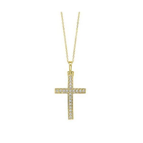 14 kt Yellow Gold Diamond Cross Necklace