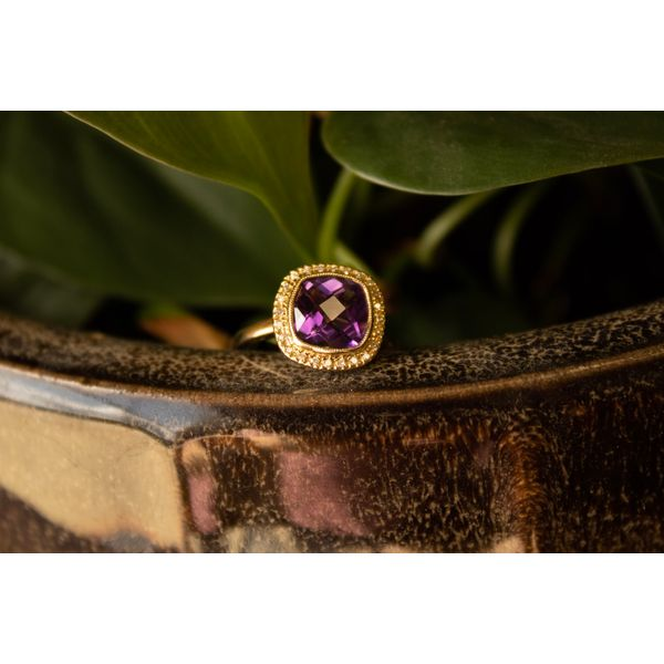14 kt Yellow Gold Amethyst and Diamond Ring  Image 2 Parris Jewelers Hattiesburg, MS