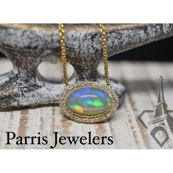 18K Yellow Gold Custom Opal Pendant Image 2 Parris Jewelers Hattiesburg, MS