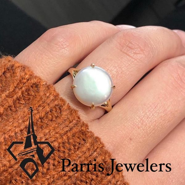 14K Yellow Gold Coin Pearl Ring Image 2 Parris Jewelers Hattiesburg, MS