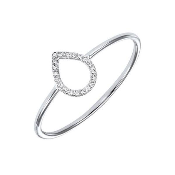 14K White Gold Diamond Teardrop Ring