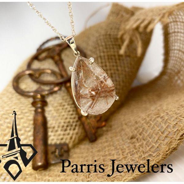 Sterling Silver Rutile Quartz Pear Shaped Pendant Image 2 Parris Jewelers Hattiesburg, MS