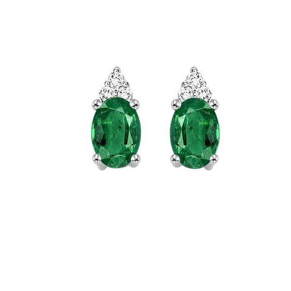 10 kt White Gold Emerald and Diamond Earrings