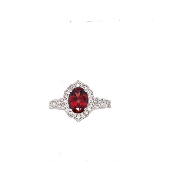 14 kt White Gold Garnet and Diamond Ring