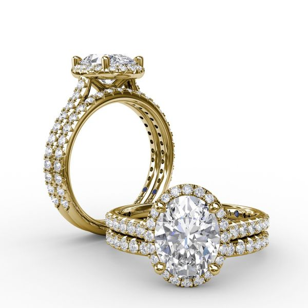 Yellow Gold Oval Halo Engagement Ring
