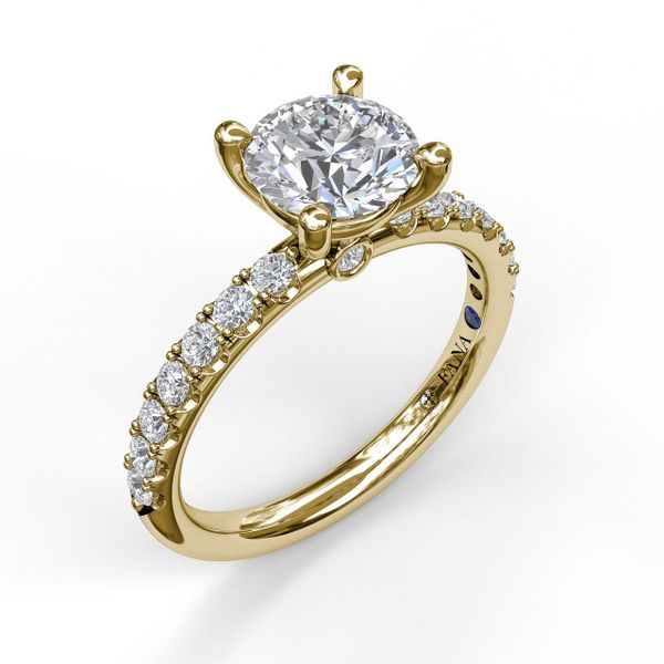 Yellow Gold Classic Style Pave' Engagement Ring  with Matching Wedding Band Available