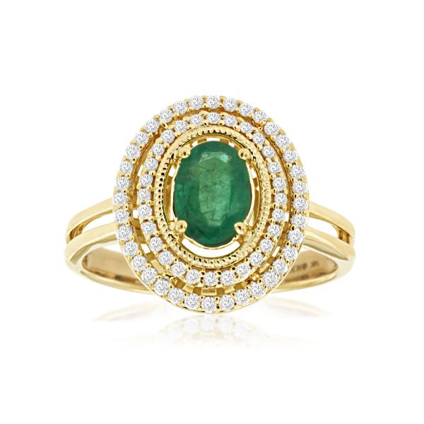14 kt Yellow Gold Emerald Ring with Double Diamond Halo