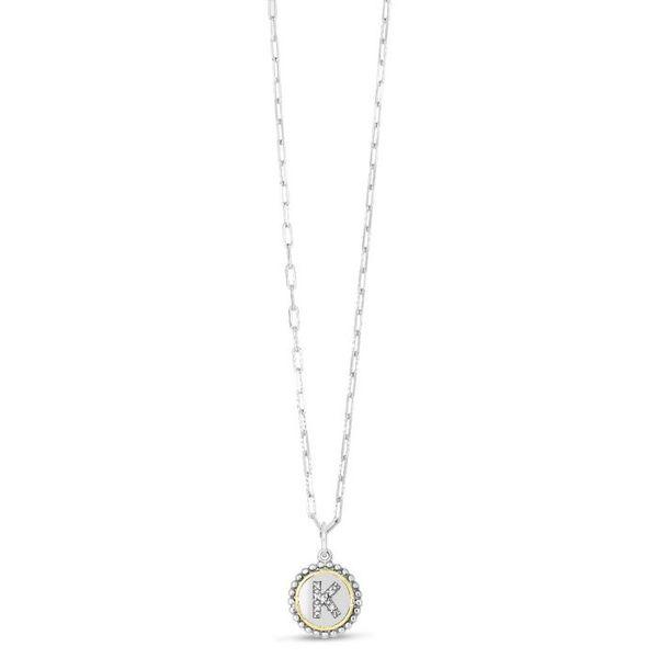Silver-18K Popcorn Initials Letter K Necklace
