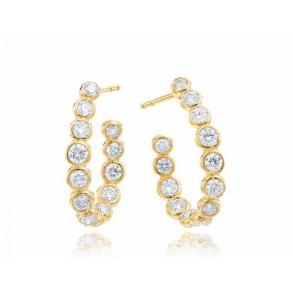 18k Diamond Bezel Hoops Parris Jewelers Hattiesburg, MS