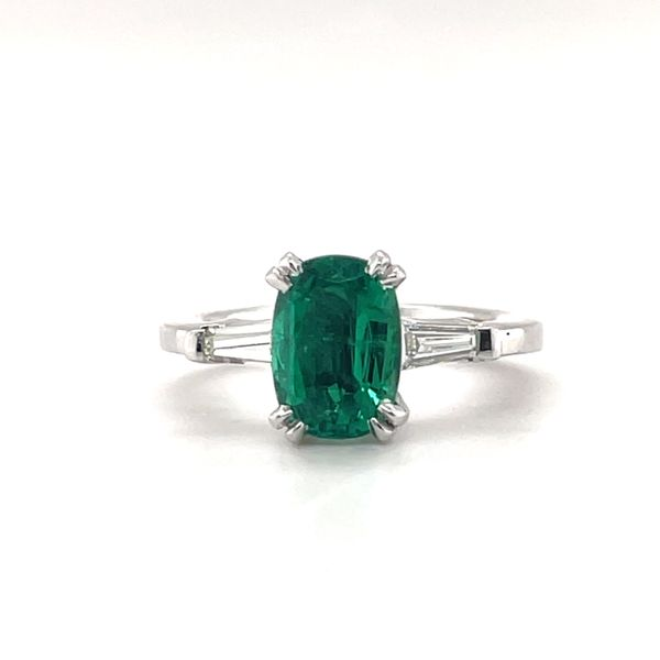 14 kt White Gold Emerald and Diamond Ring