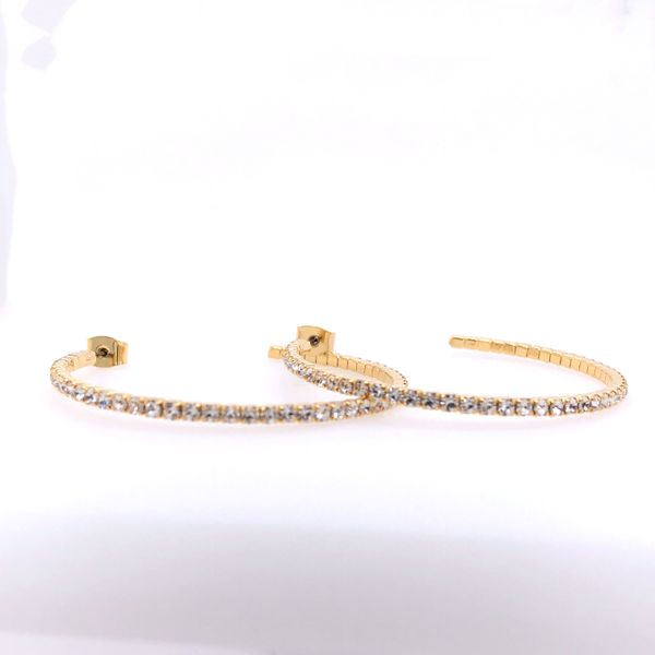 40 mm White Rhodium Plated Yellow Hoop Earrings w Crystals