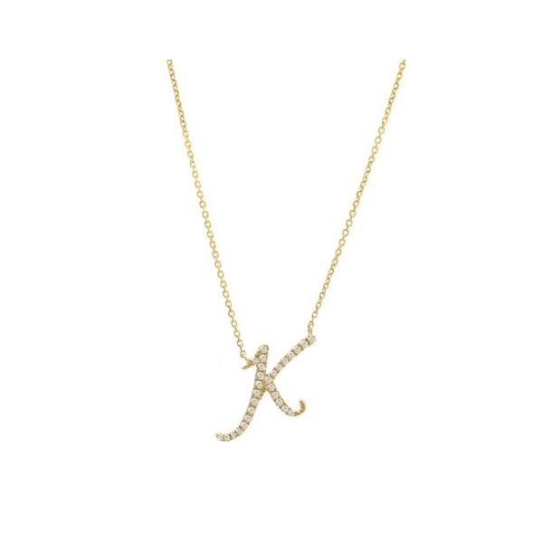 14 kt Yellow Gold Diamond Initial Necklace