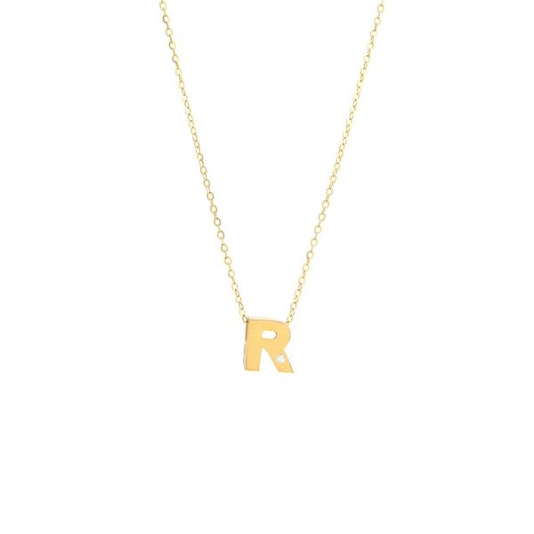 14 kt Yellow Gold Initial Pendant with Diamond Accent