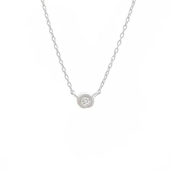 14 kt White Gold Diamond Bezel Necklace