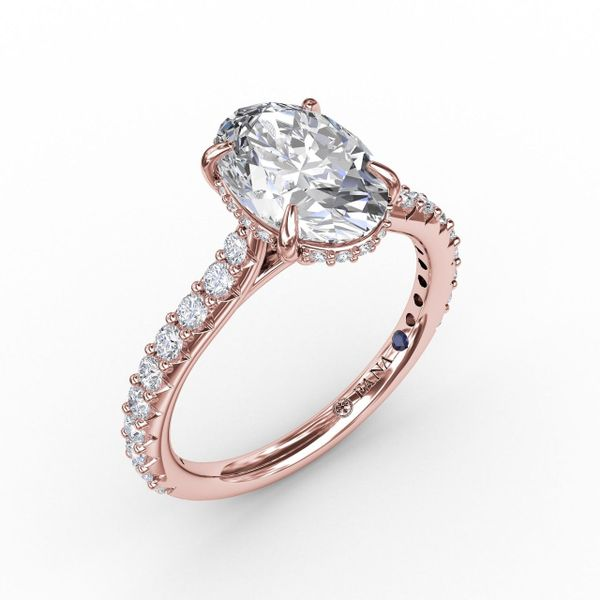 Rose Gold Classic Oval Diamond Engagement Ring With Hidden Pavé Halo