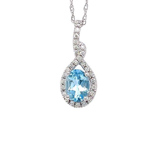 14 kt White Gold Aquamarine and Diamond Pendant