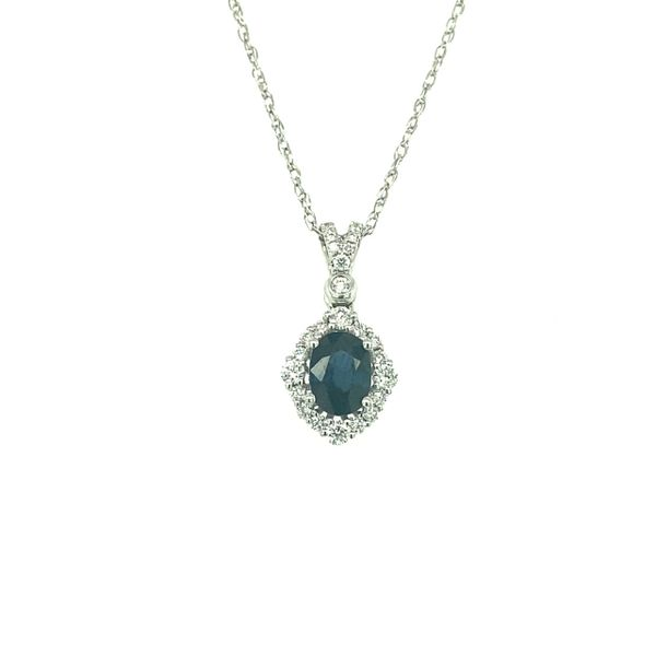 14 kt White Gold Sapphire and Diamond Necklace