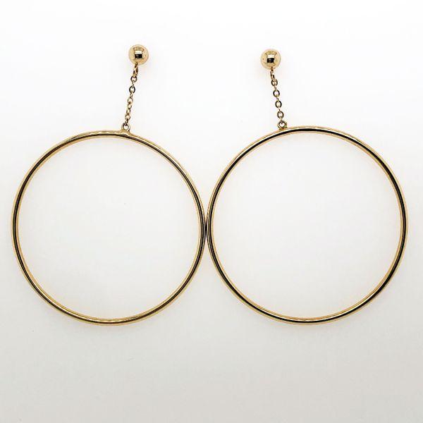 Yellow Gold Hoop Dangle Earring
