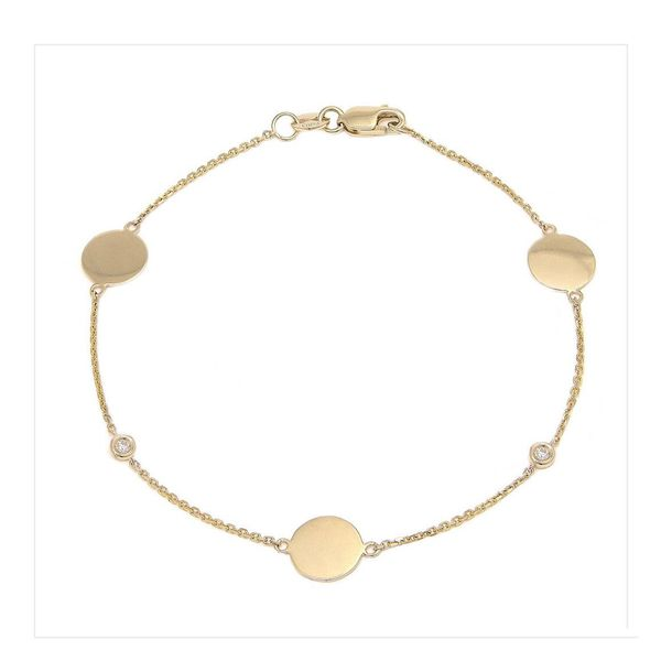 14 kt Yellow Gold Diamond By The Yard Round Bezel Diamond Engravable Bracelet