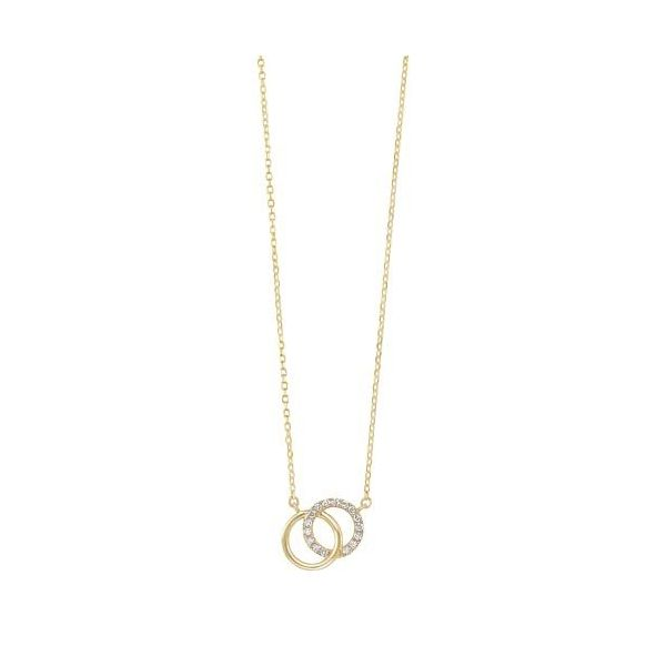 14 kt Yellow Gold Double Circle Diamond Necklace
