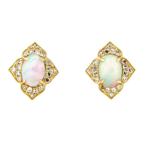 14 kt Yellow Gold Opal and Diamond Stud Earrings