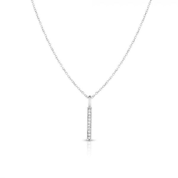 14K White Gold Diamond Bar Pendant Parris Jewelers Hattiesburg, MS