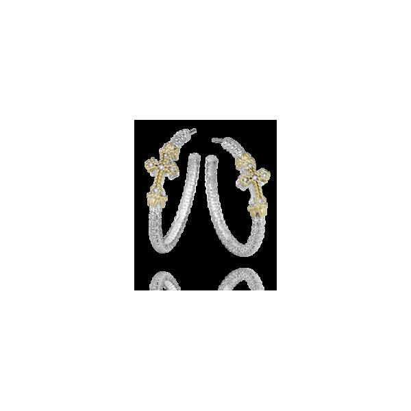 14k yellow gold and sterling silver diamond cross earrings Parris Jewelers Hattiesburg, MS
