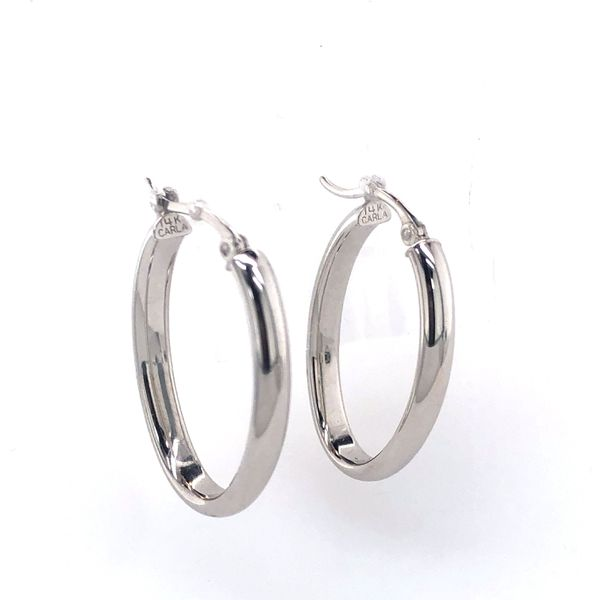 14 kt White Gold Oval Shaped Hoop Earrings