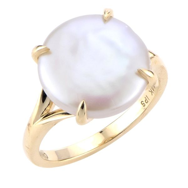 14k Yellow Gold Coin Pearl Ring