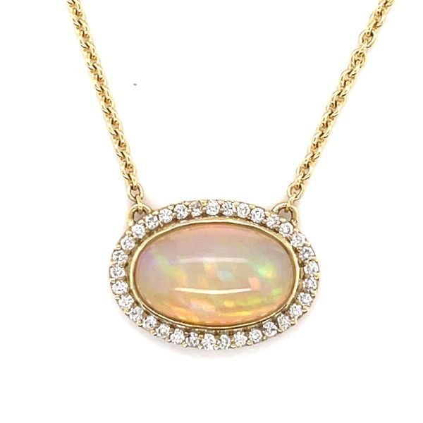 18k yellow gold opal pendant