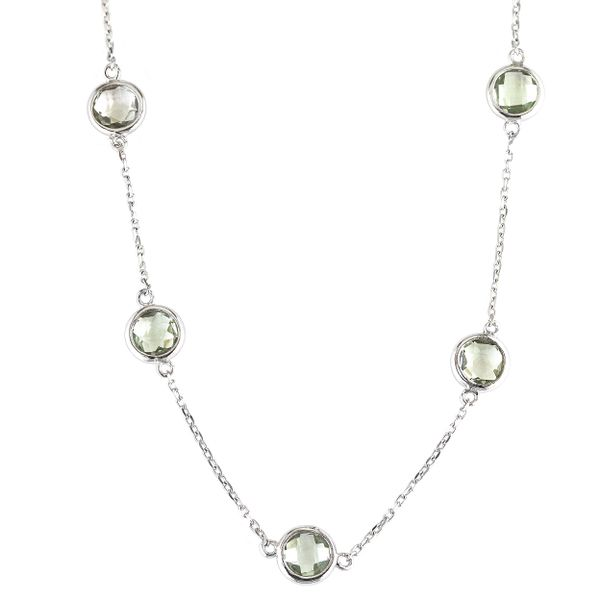 Sterling Silver Round Bezel Green Amethyst Necklace