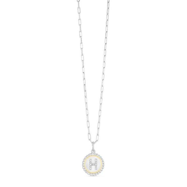 Silver-18K Popcorn Initials Letter H Necklace