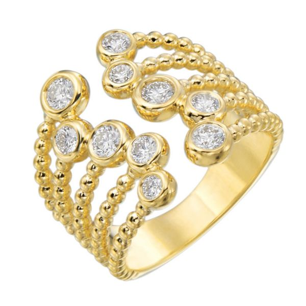 18 kt Yellow Gold Bezel Set Cuff Ring 0.71 Diamond CTTW