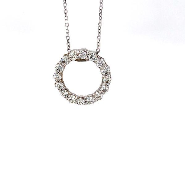 14 kt White Gold Diamond Circle Pendant