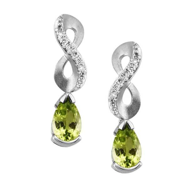 14 kt White Gold Peridot and Diamond Dangle Earrings