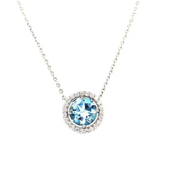 14 kt White Gold Aquamarine and Diamond Necklace