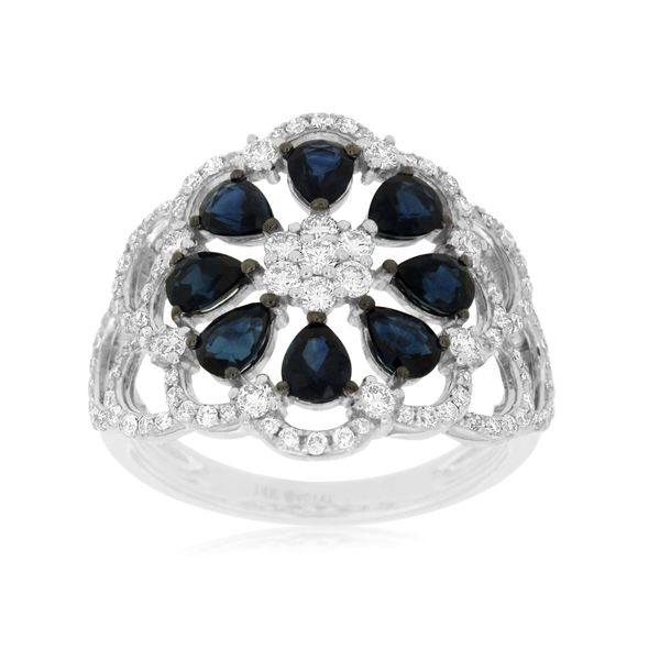 14 kt White Gold Sapphire Flower Ring Parris Jewelers Hattiesburg, MS