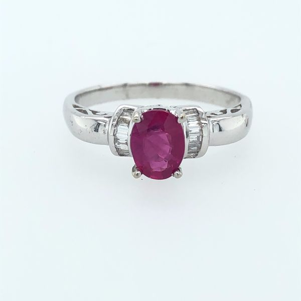 14 kt White Gold Ruby and Diamond Ring
