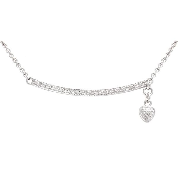Sterling Silver Diamond Bar Necklace with Heart Charm
