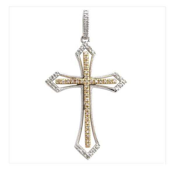 14 kt two tone gold cross pendant/necklace