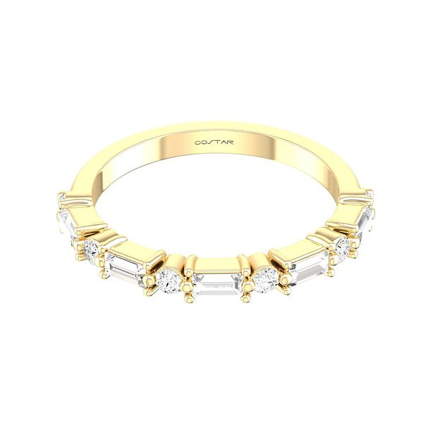 14 kt Yellow Gold Round and Baguette Diamond Wedding Band