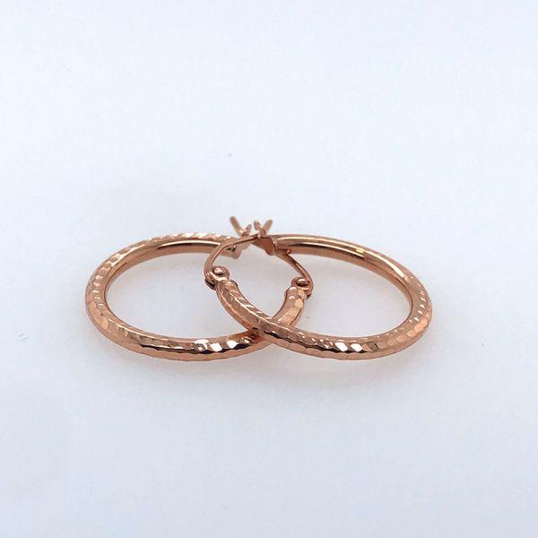 10 kt Rose Gold Hammered Hoop Earrings