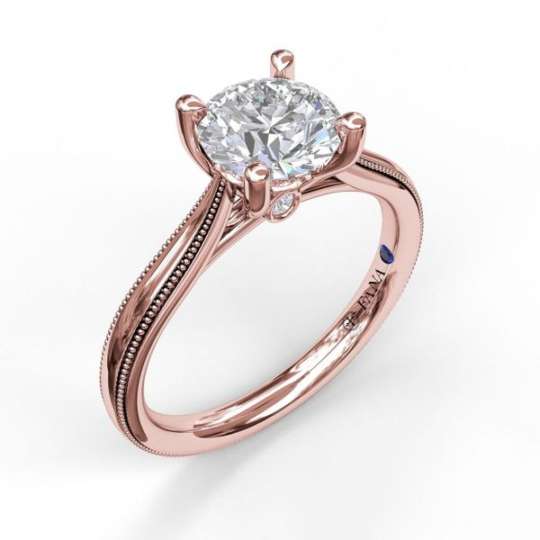 Rose Gold Round Cut Solitaire With Milgrain-Edged Band