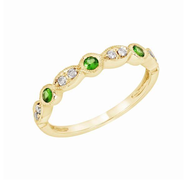 Diamond and Emerald Wedding Band
