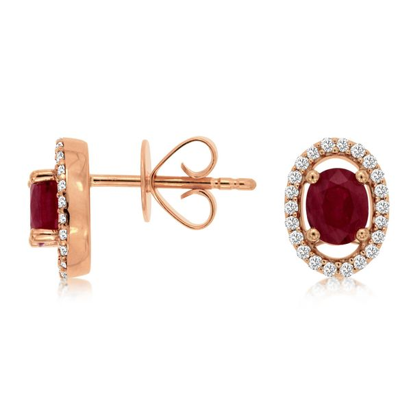 14 kt Rose Gold Ruby and Diamond Stud Earrings