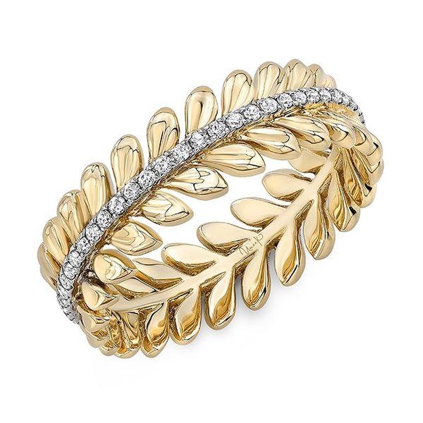 14 kt Yellow Gold Diamond Leaf Band