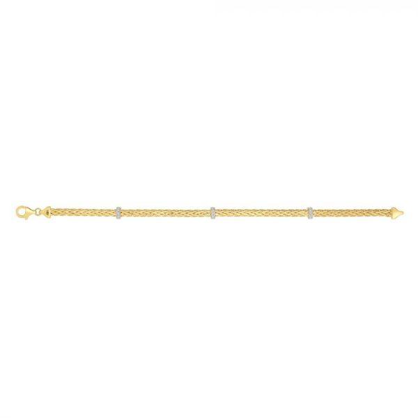 14K Gold Woven Stationed Diamond Bracelet