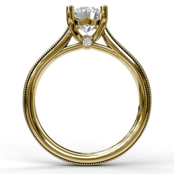 Yellow  Gold Round Cut Solitaire With Milgrain-Edged Band