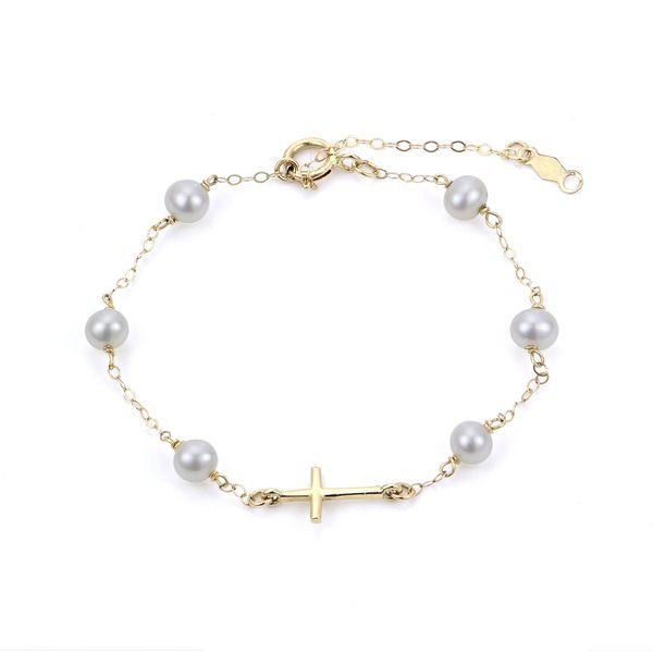 14k Yellow Gold Child Pearl Bracelet