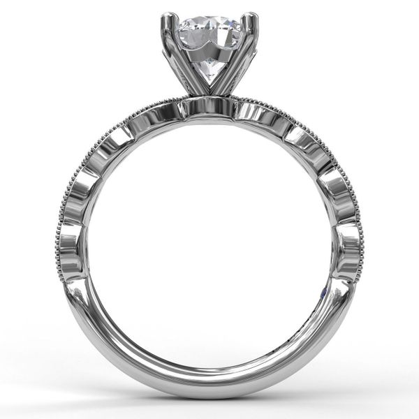 White Gold   Classic Diamond Engagement Ring with Detailed Milgrain Band